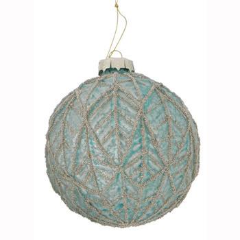 Glazen kerstbal groen leaf 10cm