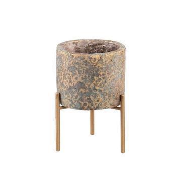 Krizz gold cement pot iron legs round xs
