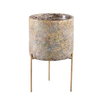 Krizz Gold cement pot iron legs round L