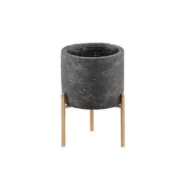 Krizz Grey cement pot iron legs round xs