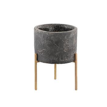 Krizz Grey cement pot iron legs round s