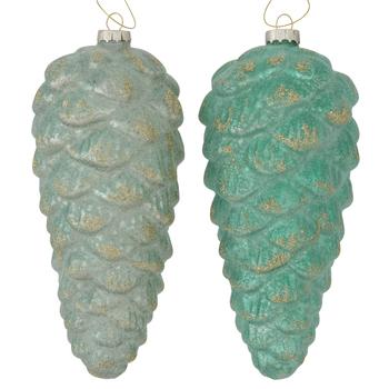 Dennenappel groen Patira 20cm - set van 2