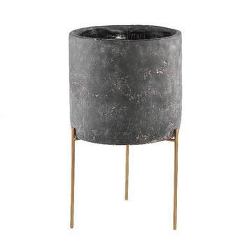 Krizz Grey cement pot iron legs round xl