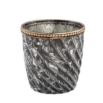 Vieve Glass green tealight spiral pattern round