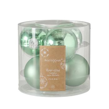 set van 6 kerstballen groen - 8cm