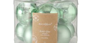 set van 10 kerstballen groen - 6cm