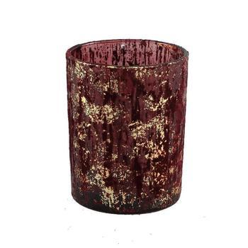 Fluflu Burgundy glass tealight glitter round l