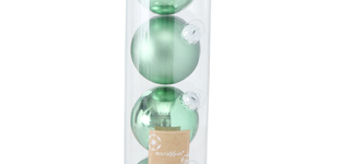 set van 4 kerstballen groen - 10cm