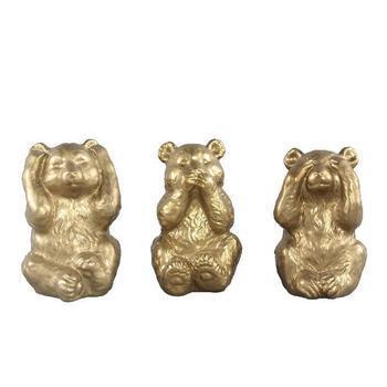 Christmas Carol gold bear statue set of 3