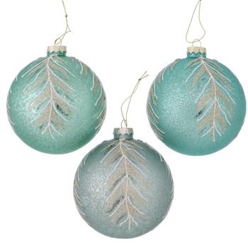 Glazen kerstbal Larea groen 10cm - set v 3