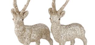 Rudolph 15cm glitter goud - set v 2