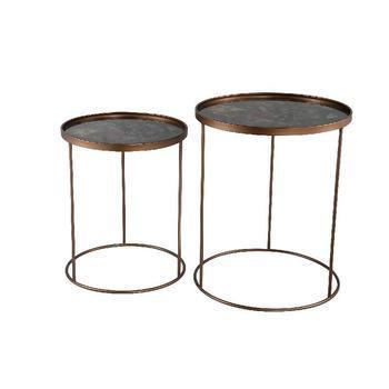 Sinner Black metal coffee table glass flowers set v 2
