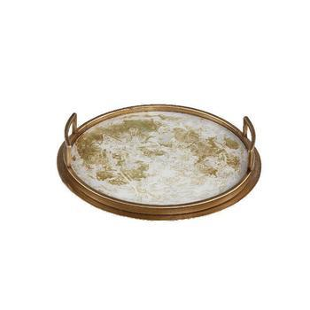 Charlize Gold mirror tray ant. gold finish round s