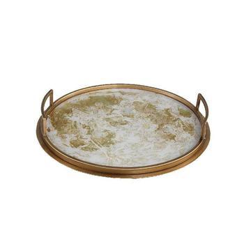 Charlize Gold mirror tray ant. gold finish round m