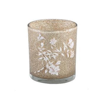 Christmass Babs glass gold tealight flower print s