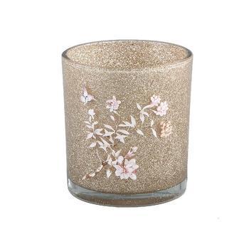 Christmass Babs glass gold tealight flower print L