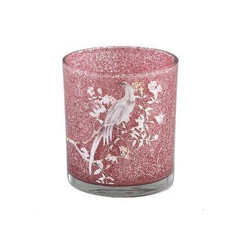Christmass Babs glass pink tealight flower print s
