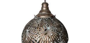 Fallon Gold metal hanging lamp leaves ball
