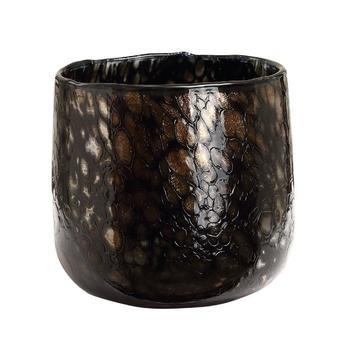 Tortoise Black with gold glass tealight round s