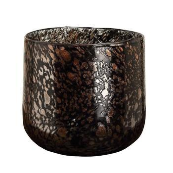 Tortoise Black with gold glass tealight round L