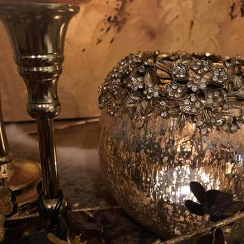 Theelichthouder Juweel Metaal/Glas Goud Small