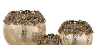 Theelichthouder Juweel Metaal/Glas Goud Medium