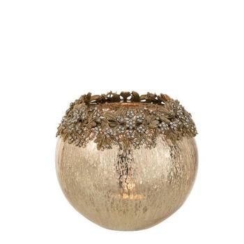 Theelichthouder Juweel Metaal/Glas Goud Large