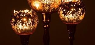 Theelichthouder Op Voet Juweel Metaal/Aluminium/Glas Goud Medium