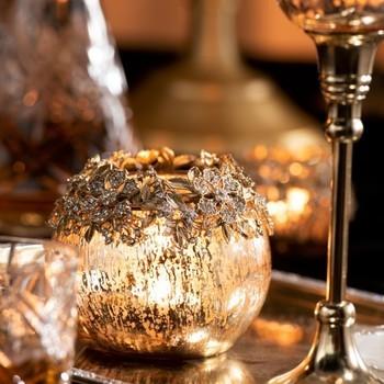 Theelichthouder Op Voet Juweel Metaal/Aluminium/Glas Goud Large