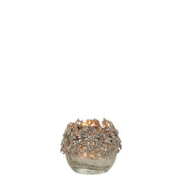 Theelichthouder Juweel Metaal/Glas Zilver Small