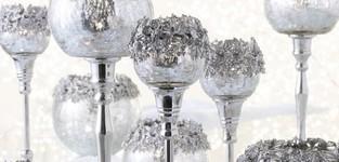 Theelichthouder Op Voet Juweel Metaal/Aluminium/Glas Zilver Medium
