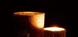 T-Lichthouder Parels Glas Donker Zalm Large