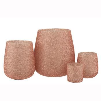 Theelichthouder Parel Glas Roze Medium