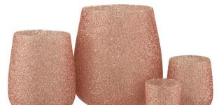 Theelichthouder Parel Glas Roze Large