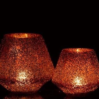Windlicht Achthoek Spikkel Glas Roestbruin Small