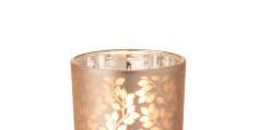 Theelichthouder Blaadjes Glas Lichtroze/Zilver Small