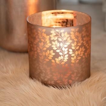 Theelichthouder Blaadjes Glas Lichtroze/Zilver Medium