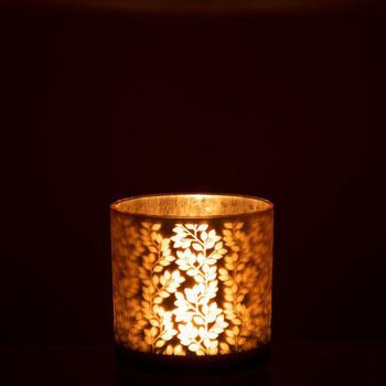 Theelichthouder Blaadjes Glas Lichtroze/Zilver Large