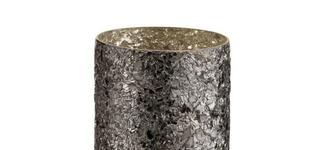 Theelichthouder Cilinder Gebroken Glas Zwart Small