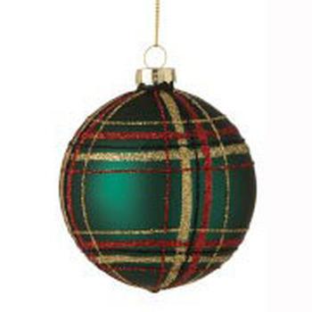 Kerstbal Geruit Glas groen Small