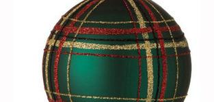 Kerstbal Geruit Glas groen Large