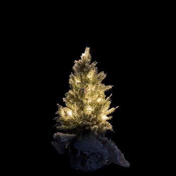 Kerstboom+Led+Pot Jute Plastiek Besneeuwd Groen Extra Small