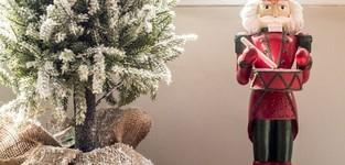 Kerstboom+Led+Pot Jute Plastiek Besneeuwd Groen Medium