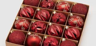 Kerstbal rood 6cm - 16stk