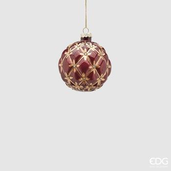 Kerstbal rood/goud 8cm
