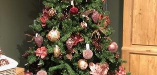Kerstbal rood/goud 10cm