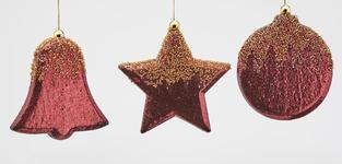 Kerstbal figuur rood/goud