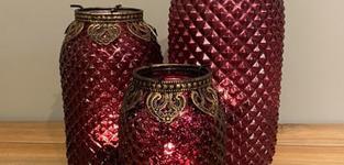 Carys Glass red diamond tealight medium