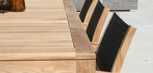 Recta tafel 220 + 6 gili stapelstoel zwart