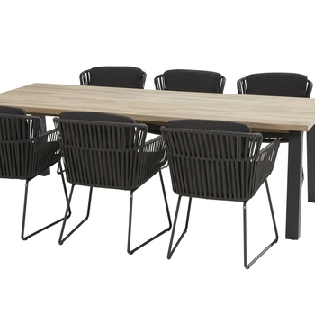 Derby tafel 240 + 6 Vitali stoelen